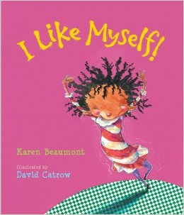 "The cover of the book ""I Like Myself."" The cover is pink with a girl dancing around."