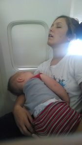 P and I passed out on a flight. SO tired.