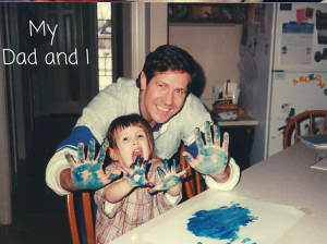 My dad and I finger painting together.