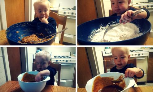 Son helping make cookies, stirring, tasting the dough